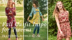 Cute Fall Outfits for Tweens, Featuring Matilda Jane Easter Dresses For Tweens, Girls Dresses Tween, Tween Girls, Cute Fall Outfits, Outfits For Teens, Cool Outfits, Tween Fashion, Girl Fashion, Girls Clothing Stores