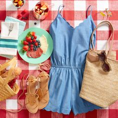 A warm-weather weekend indulgence: the park picnic! Be sun-ready & social in a romper with all the picnic fixins'.