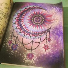 Coloring book moon stars sun
