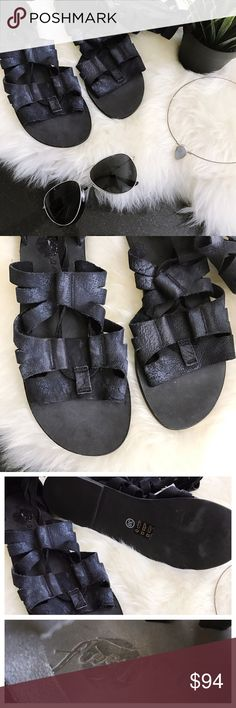 Free People Mesa Verde Gladiator sandal black 8 NWOB no flaws. Leather is heavily distressed black.  Laces up the front, full length zipper at back. Last image are stock photos for reference only. 🚫trades 🚫modeling requests  🚫🅿️🅿️ 👍🏻Reasonable offers welcome! Free People Shoes Sandals