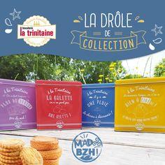 Lors de cette collaboration créative, nous vous avons concocté une série de 4 boîtes en métal remplies de galettes et palets pur beurre. La bretagne à l'honneur !  #madbzh #latrinitaine #collection #boites #couleurs #été #bretagne #bzh Bread, Collection, Food, Flat Cakes, Butter, Brittany, Colors, Breads, Baking