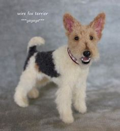 needle felt wire haired fox terrier by yayaya