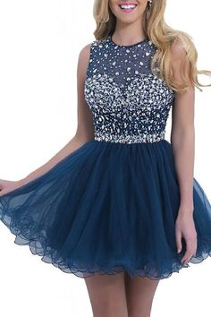 KARMA PROM Women's Short Tulle Beading Homecoming Dress Prom Gown Navy Blue US2