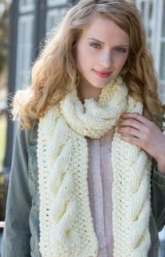 One Big Cable Scarf Free Knitting Pattern from Red Heart Yarns