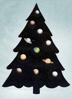 Happy Holidays Everybody!  #happy #christmas #universe #planet #star #tree #illustration #conceptual #salzman #digital #conceptual # christmas