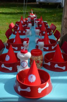 Place settings at a puppy birthday party! See more party ideas at CatchMyParty.com!