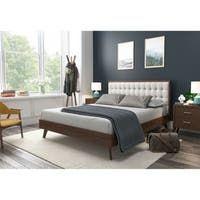 Shop Colette Platform Bed - On Sale - Overstock - 28165569 Modern Master Bedroom, Blue Bedroom, Bedroom Furniture Stores, Furniture Deals, Beige Headboard, Mid Century Modern Bed, Beds For Sale, Upholstered Platform Bed, Bed Sizes