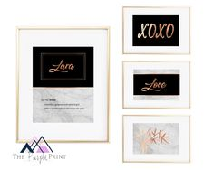 Items similar to Personalized Rose Gold, black and Marble textured digital prints. Girls room wall art - 4 printables with personalized name in rose gold. on Etsy