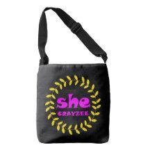 Fluorescent Pink She Crayzee Crossbody Bag