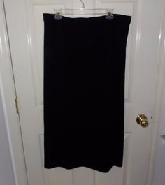 Women's St. John Basics Long Black Modesty Knit Skirt Size 14 EUC #StJohn #Maxi