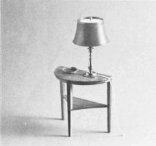 """""""Regency"""" End Table. (c. 1940s). Complete 1/12th scale miniature plans, patterns, and instructions. In The Scale Cabinetmaker, Volume 6:4. Issue available as a pdf download from dpllconline.com. Issue price: $6.00."""