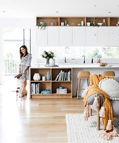 An upgrade to open-plan living gives this growing family a place to call home. Photography by Maree Homer. Styling by Kerrie-Ann Jones. From the October 2017 issue of Inside Out Magazine. Kitchen Ikea, Kitchen Benches, Kitchen Living, Kitchen Interior, Kitchen Wood, Kitchen Decor, Kitchen Storage, Kitchen Plants, Teal Kitchen