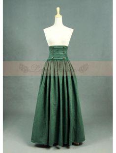 Olive Vintage High Waist Long Victorian Skirt