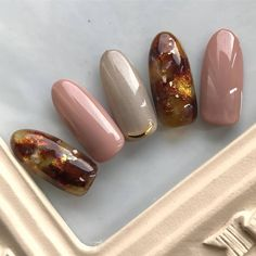 "大人っぽくも可愛くもいたい秋を嗜む""べっ甲ニュアンスピンクネイル""5design Nail Art Hacks, Nail Art Diy, Cool Nail Art, Simple Acrylic Nails, Simple Nails, Classy Nails, Japanese Nail Art, Latest Nail Art, Manicure Y Pedicure"