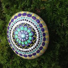 MANDALA style hand painted rock. Painted both sides and all around.