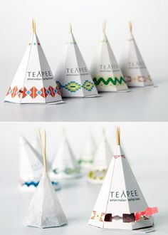 Amerindian tea packaging is packaged in a mini tent, that the original Amerindians used to use.