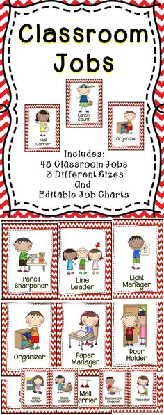 Classroom Jobs - Keep your classroom organized throughout the year with this adorable classroom job clip chart set! #backtoschool