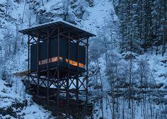 Allmannajuvet tourist route pavilion in Norway by Peter Zumthor. Photograph by Arne Espeland