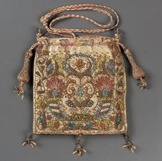 Drawstring bag  English, late 16th–early 17th century  Overall (without tassels and cord): 13.3 x 13 cm (5 1/4 x 5 1/8 in.)  MEDIUM OR TECHNIQUE  Silk satin emroidered with silk, gold metallic threads, metal purl, and seed pearls Braided silk and metallic cords and tassels  CLASSIFICATION  Costumes  ACCESSION NUMBER  43.1079 Museum of Boston