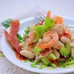 Salade aux haricots tarbais et jambon croustillant Bon Appetit, Tuna, Pasta Salad, Cantaloupe, Potato Salad, Shrimp, Salads, Fish, Meat