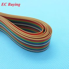 Free shipping NEW 1M 40 Flat Color Rainbow Ribbon Cable wire Rainbow ...