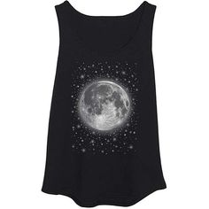 LC trendz Plus Black Full Moon & Stars Tank ($17) ❤ liked on Polyvore featuring tops and plus size