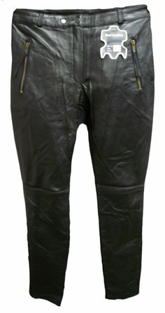 Womens Black Genuine Leather Front Pants with Poly Lycra Elastic Stretch Back Motorcycle Wear, Parachute Pants, Night Out, Special Occasion, Thighs, Leather, How To Wear, Stuff To Buy, Clothes