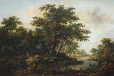 Meindert Hobbema - Een bosrijke riviervallei met twee vissers
