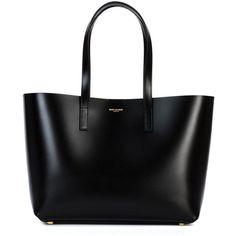 Saint Laurent Medium Paris Tote ($1,290) ❤ liked on Polyvore featuring bags, handbags, tote bags, purses, totes, bolsas, black, leather tote purse, genuine leather handbags and man bag