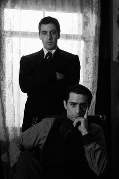 Al Pacino and Robert DeNiro in still photos for Godfather 2. Neither man appeared in a scene with the other in this movie.