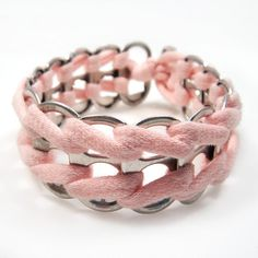Sweet Whisper Pink Upcycled Soda Tab Bracelet by RandallWear, $18.00
