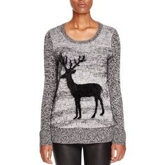 Cupio Textured Reindeer Sweater ($48) ❤ liked on Polyvore featuring tops, sweaters, black combo, black sweater, textured sweater, textured top and black top