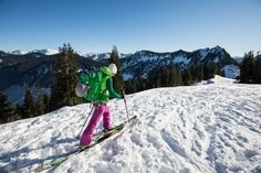 WoolxinAction IG Ambassador @erin.noelle1 testing out the Brooke 1/4 zip ski touring at Stevens Pass in the Cascades.