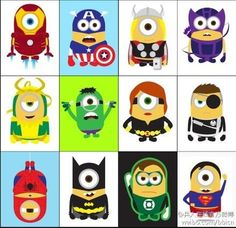 What could be cuter than Halloween Minions? To celebrate our first Halloween, we've introduced a new line of Minions dressed in some of the most popular super hero costumes! These Minions were in. Amor Minions, 3 Minions, Minion Stuff, Minion Nails, Minion Jokes, Funny Minion, Galaxy Facts, Marvel E Dc, Minion Avengers