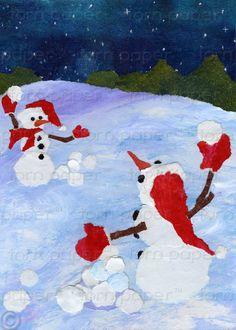 Snowy Christmas by Jo Blanset on Etsy Snowball Fight, Christmas Crafts, Christmas Stuff, Let It Snow, Snowmen, Happy Holidays, Childhood Memories, Disney Princess, Bulletin Boards