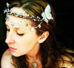 Silver Butterfly Bridal Headpiece Crown-Wear it Four Ways. (50.00 USD) by PhenomenaJewelry
