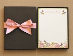 Personalized Stationery Gift Set of 12 5x7 Flat Notes and Envelopes. $29.99, via Etsy.