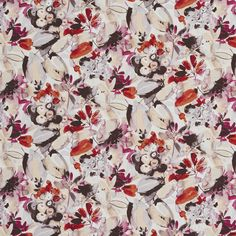 Brown and Coral Contemporary Linen Upholstery Fabric