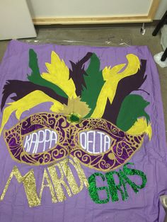 The final product: Mardi Gras theme Date Party Banner by Kari Slocum.