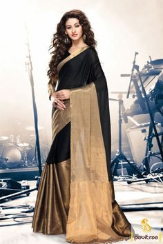 Golden and black color pure cotton simple saree online. This new style simple and normal saree festival wear saree with designer blouse piece. This amazing saree worth to buy. #saree, #casualsaree more: http://www.pavitraa.in/store/cotton-sarees/
