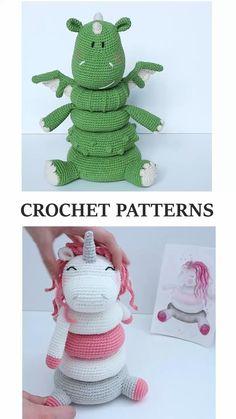 Crochet Animal Patterns, Stuffed Animal Patterns, Crochet Patterns Amigurumi, Crochet Stitches, Baby Knitting Patterns, Crochet Dragon Pattern, Baby Patterns, Crochet Baby Toys, Crochet Gifts