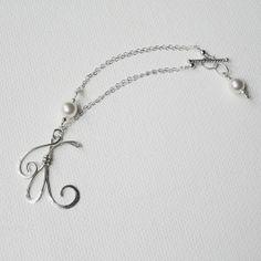 Initial Charm Bracelet Personalized Pearl by BelleAtelierJewelry, $42.00 Hand hammered letter bracelet, sterling silver
