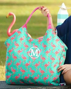 Personalized Large Beach Bag Oversized Pool Tote – Gifts Happen Here Large Beach Bags, Flamingo Beach, Embroidered Gifts, Beach Ready, Beach Pool, Custom Embroidery, Family Gifts, Beautiful Bags, Monogram