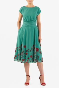 I <3 this Floral print pleated georgette dress from eShakti