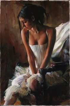 Original Painting, A moment of Silence by Michael & Inessa Garmash