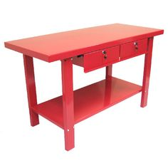 2 Drawer Work Station in Red. At Wayfair. I would love this as a kitchen island, maybe a secondary workspace.