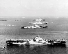 USS Wasp USS Yorktown USS Hornet USS Hancock USS Ticonderoga and other warships at Ulithi Atoll Caroline Islands 8 December 1944.