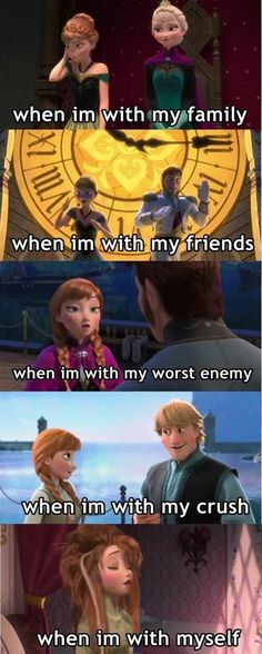 My many moods (Just to be clear I don't like Frozen)