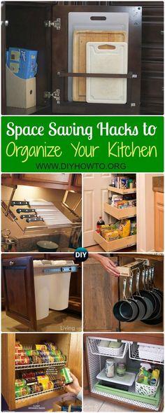 DIY Space Saving Hacks to Organize Your Kitchen: Organize Kitchen Cabinet, Under Sink, Above Fridge, Cookware, Maximize Kitchen Spaces via @diyhowto