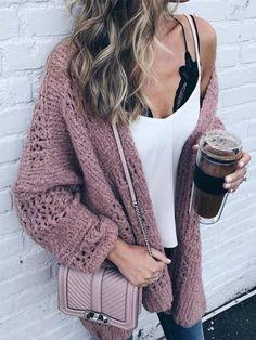313039cfeb7f Chellysun Oversize Chunky Knit Cardigan Maroon Sweater